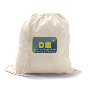 Sacola tipo mochila 100% algodão. 37 x 41 cm - REF: 986461