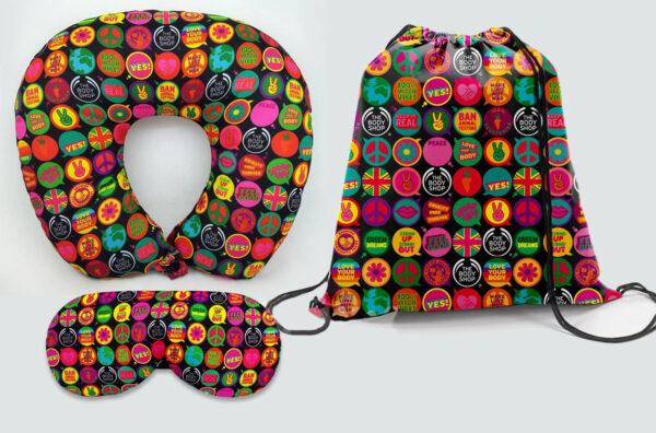 Kit Almofada de pescoço, máscara de dormir e sacola 37x41 cm - REF: 987316