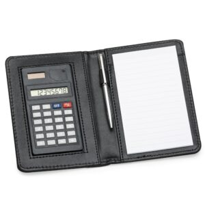 Bloco de Anotações de couro sintético com Calculadora, Caneta - Ref. 11948