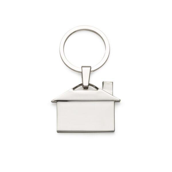 Chaveiro metal brilhante formato casa - Ref. 12209
