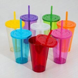 Copo Plástico 650ml com Pintura Colorida Transparente - Ref. 14104 T