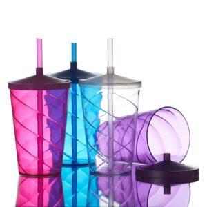Copo de acrílico 750ml colorido com detalhe em espiral e canudo biodegradável - Ref 14173