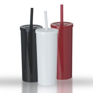 Copo long drink plástico 380ml e canudo plástico com trava - Ref. 14175