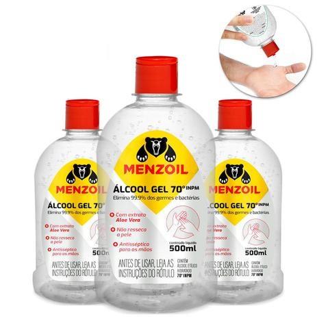 Álcool Gel 70% INPM Etílico Antisséptico com Aloe Vera 500ml - Ref. 356-MZ
